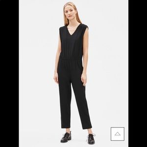 Eileen Fisher Black Stretch Crepe Jumpsuit